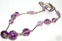 STUNNING ART DECO CZECH LILAC SWIRL GLASS NECKLACE