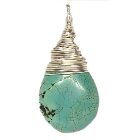 Silver Wrapped Turquoise Teardrop Pendant