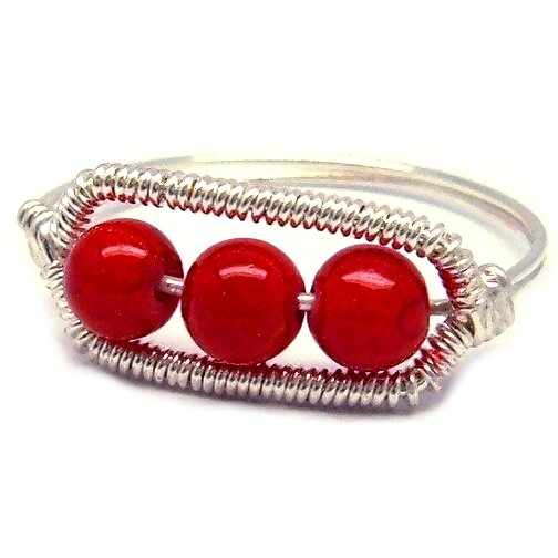 Red Coral and Silver Wire Ring - Custom Size Available