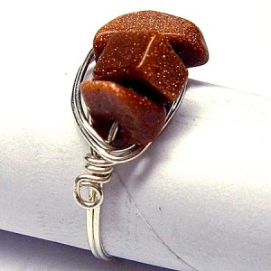 Silver and Goldstone Chip Ring - Custom Size Available