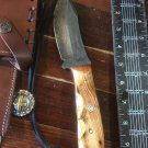 Wood  Handle Knife Indian Joe Hand Made Handle Custom Damascus Blade Bowie Bone