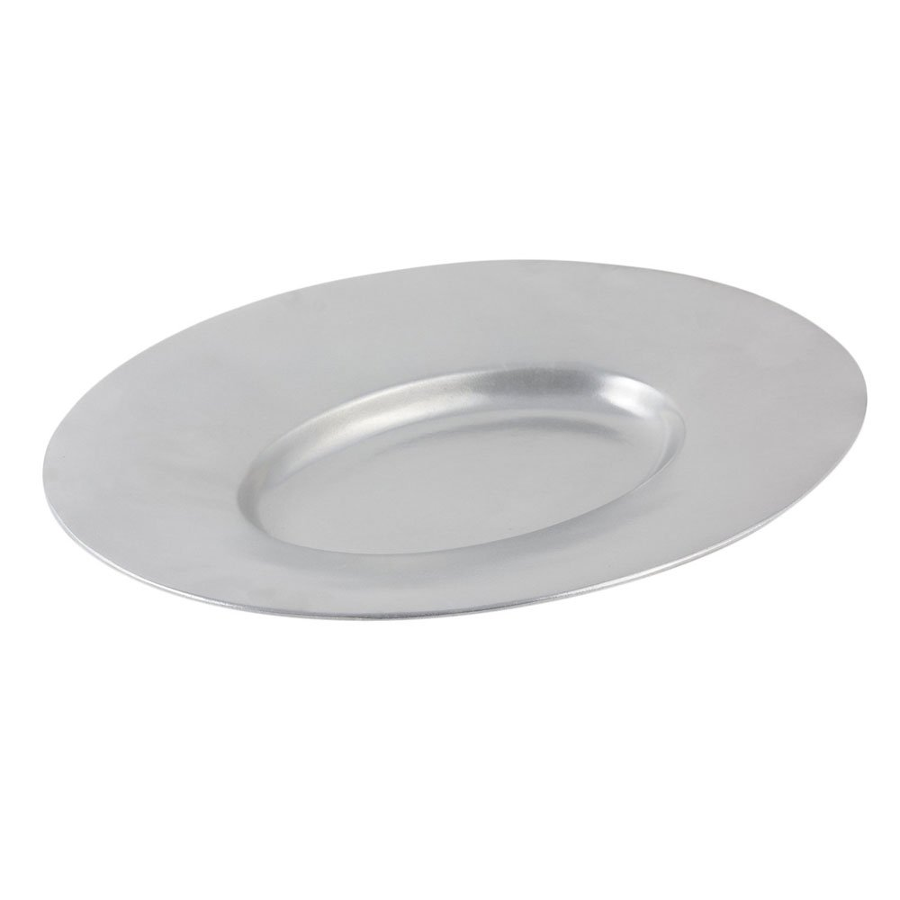 19 1/2 x 15 3/4 inch Wide Rim Platter Sandstone Ivory Speckled