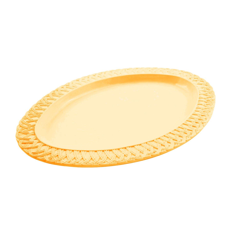 14 1/4 x 20 1/4 inch Trellis Oval Platter Sandstone Harvest Gold