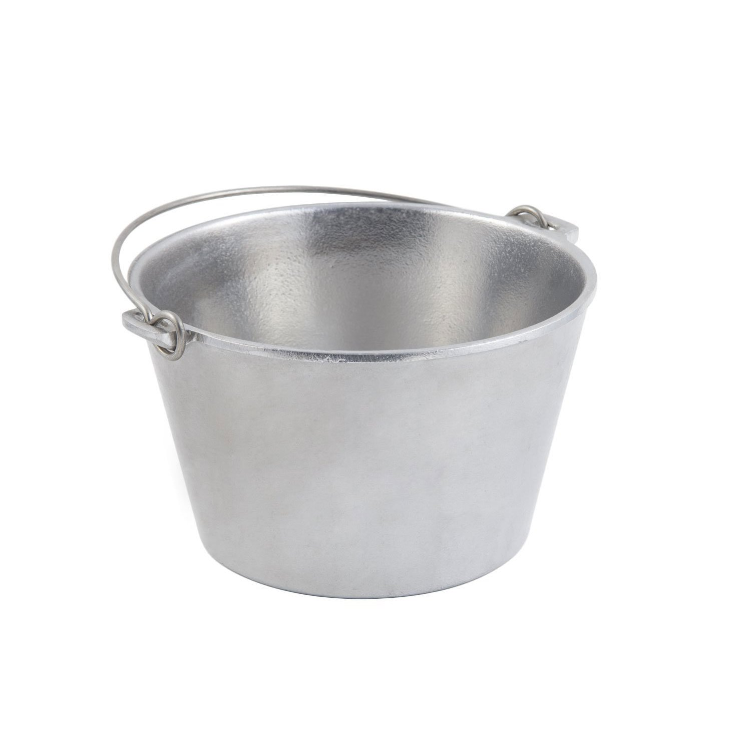 3 qt 9 dia. x 5 1/2 H inch Soup Kettle with Bail Handle Pewter Glo