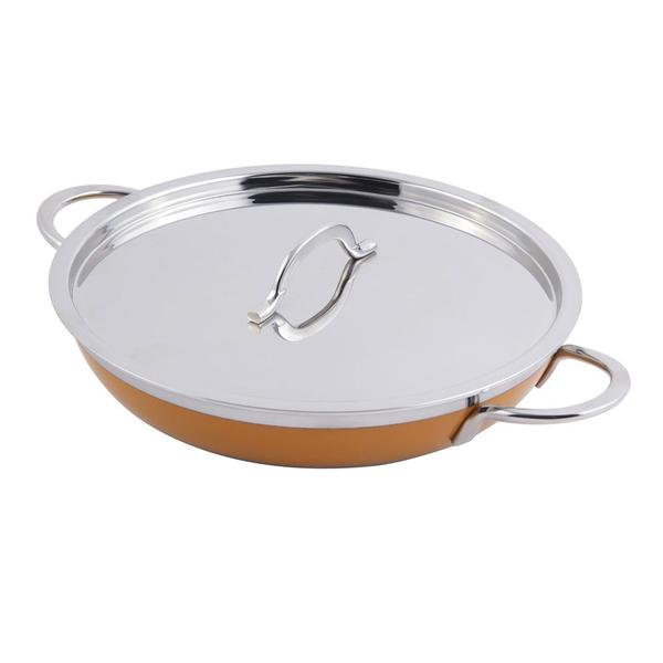 11 dia. x 2 1/4 H inch Classic Saute Pan / Skillet with Cover and Double Handle Yellow