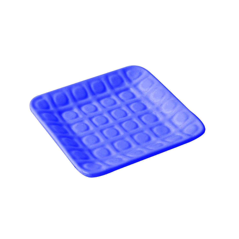 12 1/2 x 12 1/2 inch Circle Embossed Platter Sandstone Dark Blue
