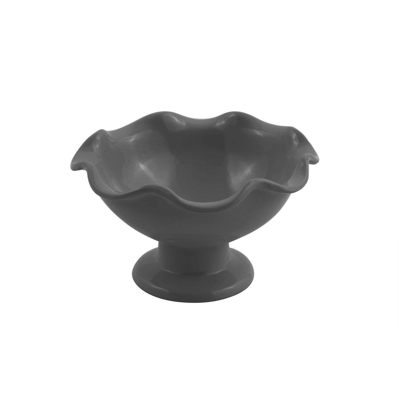 6 dia. x 3 3/8 inch Scalloped Pedestal Bowl Sandstone Black Speckled