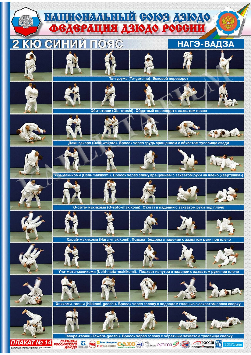 Posters JUDO. Blue   belt  1 poster.The technique of judo.NAGE WAZA.