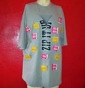 "NO BOUNDARIES Trojan Condoms on T-Shirt ""Zip It Up"" GREY size XL  women men"