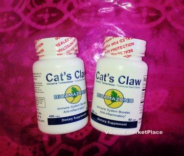 2 CATS CLAW Bark Herb Natural Organic UNA De GATO *120 CAPSULES kosher 2 BOTTLES