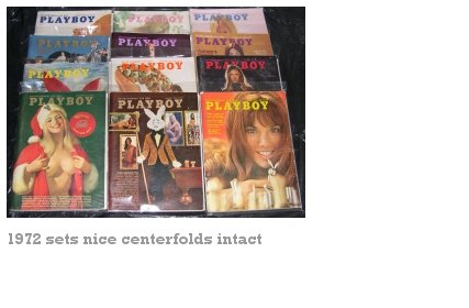 PLAYBOY 1972 MAGAZINES 12 ISSUES COMPLETE