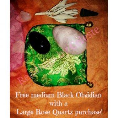 Large Rose Quartz Yoni Egg Kegel Exerciser & Free Medium Black Obsidian