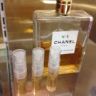 CHANEL NO 5 EAU DE PARFUM - THREE 1.7 ml Perfume Sample Spray Atomizers - 100% Authentic