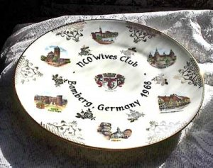 "NCO WIVES CLUB Bamberg GERMANY 1968 10"" Plate GILT"