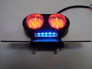 Black Motorcycle LED Tail Brake Stop Light License Plate Holder Harley Custom