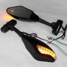 18 LED Turn Signal Light Mirrors For Honda Yamaha Suzuki Kawasaki Motorcycle