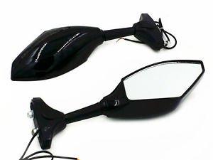 Gloss Black Motorcycle Turn Signal Integrated Racing Mirrors for Yamaha R1 R6 FZ