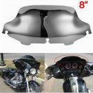 """Chrome 8"""" Wave Windshield Windscreen For Harley FLHT FLHTC FLHX Touring 96-13"""