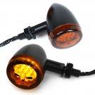 2x Black Bullet Turn Signals Amber Blinker Skull Light Indicator For Harley Dyna