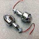 Pair Chrome Turn Signals Indicator Amber Blinker Lights For Honda Kawasaki KTM