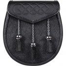 Hand Crafted Semi Dress Black Leather and Rabbit Fur Scottish Kilt Sporran