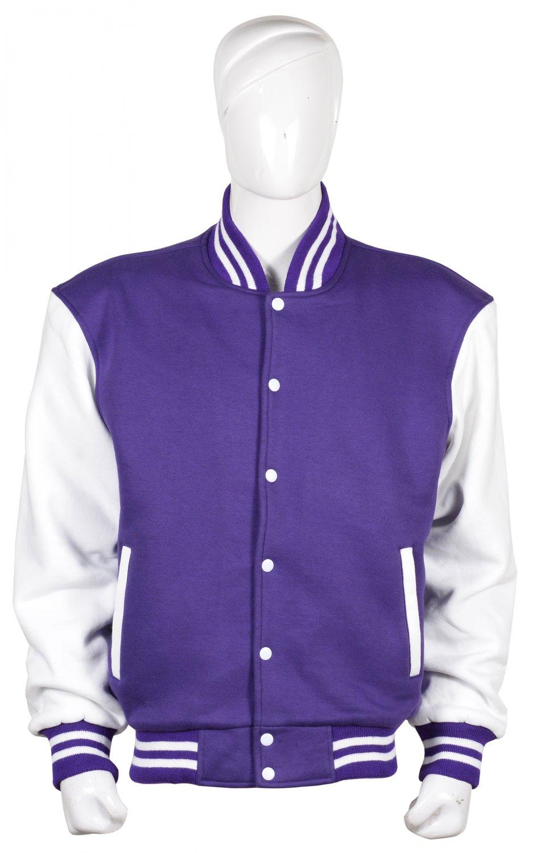 XL Size Letterman /University/Baseball/Club/High School/ Custom Made Varsity Jacket Purple & White