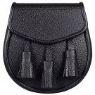 Premium Quality Black Leather Scottish Kilt Sporran and Belt