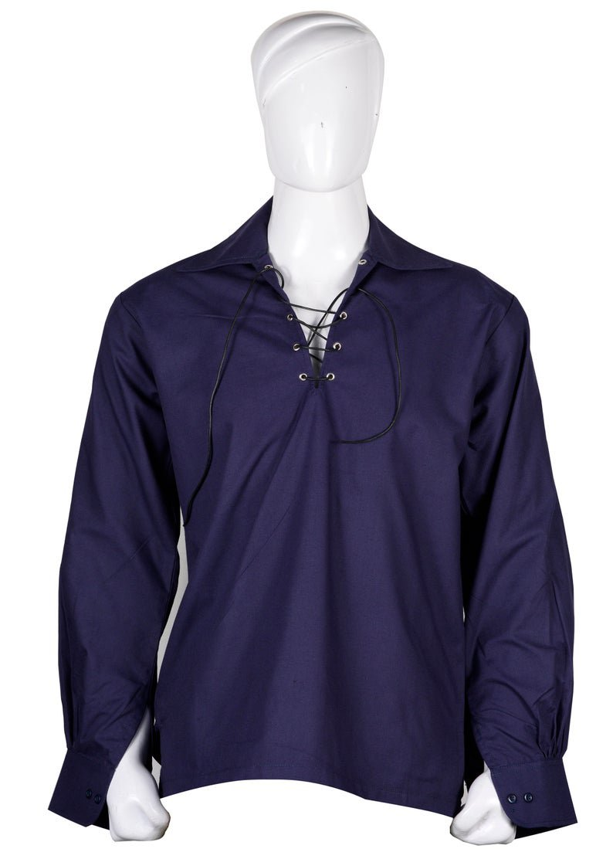 2 XL Size Hand Made 100% Cotton Traditional Scottish Style Jacobean Jacobite Ghillie Kilt Shirt