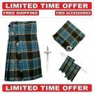 Size 54 Anderson Tartan Scottish 8 Yard Tartan Kilt Package Kilt-Flyplaid-Flashes-Kilt Pin-Brooch