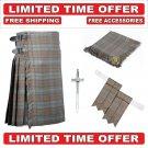 32 Black Watch Weathered Scottish 8 Yard Tartan Kilt Package Kilt-Flyplaid-Flashes-Kilt Pin-Brooch