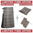 46 Black Watch Weathered Scottish 8 Yard Tartan Kilt Package Kilt-Flyplaid-Flashes-Kilt Pin-Brooch