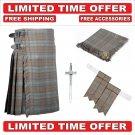 60 Black Watch Weathered Scottish 8 Yard Tartan Kilt Package Kilt-Flyplaid-Flashes-Kilt Pin-Brooch