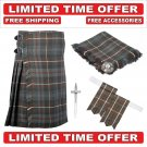 34 Mackenzie Weathered Scottish 8 Yard Tartan Kilt Package Kilt-Flyplaid-Flashes-Kilt Pin-Brooch