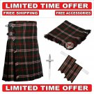 46 Size Hunting Scott Scottish 8 Yard Tartan Kilt Package Kilt-Flyplaid-Flashes-Kilt Pin-Brooch
