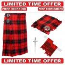 32 Size Scottish Rose Scottish 8 Yard Tartan Kilt Package Kilt-Flyplaid-Flashes-Kilt Pin-Brooch