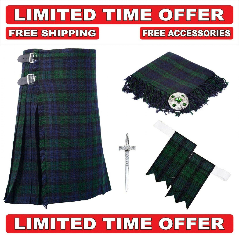 48 Size Black Watch Scottish 8 Yard Tartan Kilt Package Kilt-Flyplaid-Flashes-Kilt Pin-Brooch