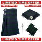 60 Size Black Watch Scottish 8 Yard Tartan Kilt Package Kilt-Flyplaid-Flashes-Kilt Pin-Brooch