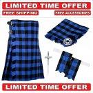30 Size Blue Black RobRoy Scottish 8 Yard Tartan Kilt Package Kilt-Flyplaid-Flashes-Kilt Pin-Brooch