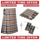 56 Size Campbell of Thompson Scottish 8 Yard Tartan Kilt Package -Flyplaid-Flashes-Kilt Pin-Brooch