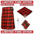 30 Size Wallace Scottish 8 Yard Tartan Kilt Package -Flyplaid-Flashes-Kilt Pin-Brooch