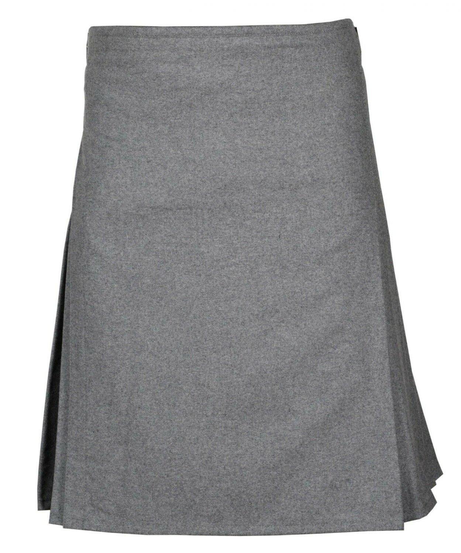 42 Size  Men's Made to Measure Traditional Scottish 8 Yard Grey Wool Kilt
