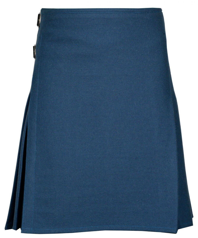 50 Size  Men's Made to Measure Traditional Scottish 8 Yard Smoking Blue Wool Kilt