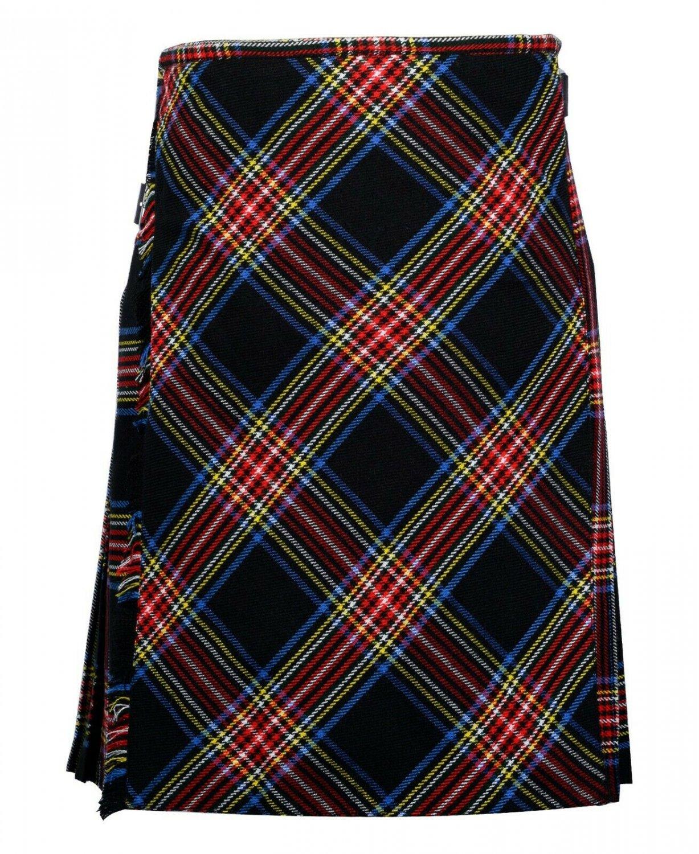 54 Size Bias Apron Traditional 5 Yard Scottish Kilt for Men � Black Stewart Tartan
