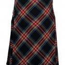 60 Size Bias Apron Traditional 5 Yard Scottish Kilt for Men – Black Stewart Tartan