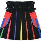 40 Size LGBT Pride Hybrid Cotton Scottish Utility Kilt for Parades Festivals and Gifts