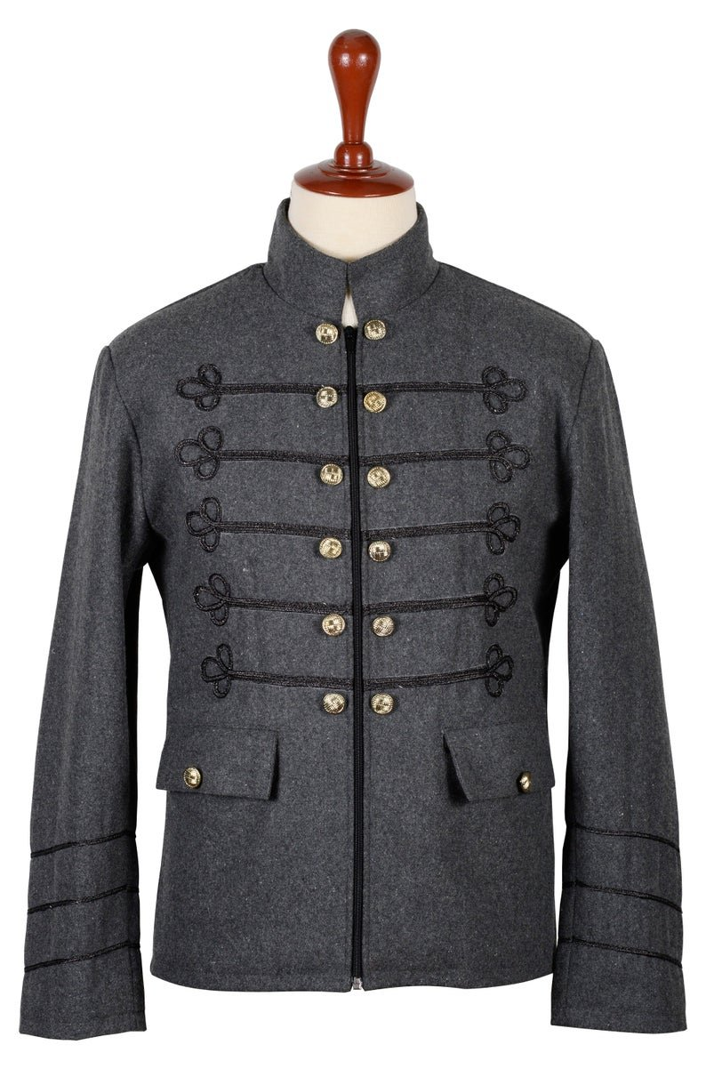 L Size Grey Wool Napolian Style Renaissance Military Zipper Jacket For Men