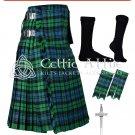 36 size 8 Yard TARTAN KILT - Campbell of Ancient Kilt Package Free Accessories, Pin, Flashes, Socks