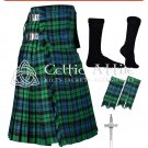 44 size 8 Yard TARTAN KILT - Campbell of Ancient Kilt Package Free Accessories, Pin, Flashes, Socks