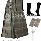 34 size 8 Yard TARTAN KILT - Black Watch Weathered Kilt Package Free Accessories,Pin,Flashes,Socks