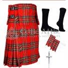 48 size 8 Yard TARTAN KILT - Royal Stewart TARTAN Kilt Package Free Accessories, Pin, Flashes, Socks